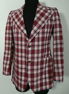 1970s Pierre Cardin Boutique Line Plaid Sport Coat. Made in France. 38 39