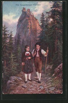 old postcard: AK Guggisberg, Paar in alten guggisberger Tracht