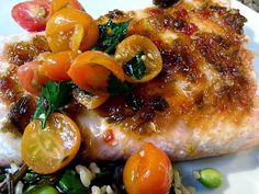 red or green?: BBQ Salmon with Hot Pepper Jelly Glaze & Marinated Tomatoes  #Summer Soiree #foodnetwork #grilledfish #barbecue