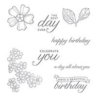 Birthday Blossoms Wood-Mount Stamp Set by Stampin' Up!