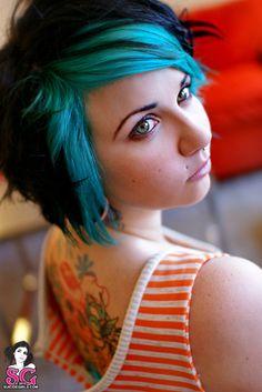 Black + turquoise hair