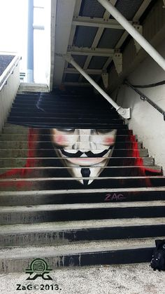 Cool street art on stairs, V for Vendetta, by ZAG, revolution, inspiration, graffiti, LXIV United, apparel for men and women