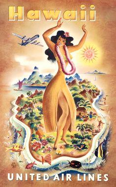 Joseph feher - united air lines - hawaii - original vintage poster (old school illustration Hawaii Vintage, Vintage Hawaiian, Backpacking Europe, Retro Airline, Vintage Airline, Hawaii Hula, Hawaii Hawaii, Visit Hawaii, Hawaii Style