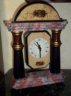 Orologio in legno realizzato da me decorato in finto marmo Rosso Francia