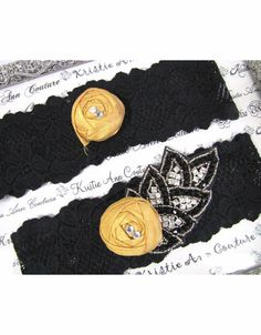 Black Lace Garter Set with Vintage Gold Flower and Beaded Accents