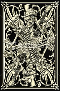 Classic Skeleton Playing Card Royalty Free Stock Vector Art Illustration