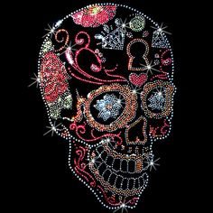 Day of the Dead Sugar Skull Rhinestone Studs Side View UNISEX ADULT T Shirt  15464