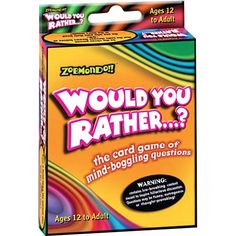 "Would You Rather Classic Card Game: Would you rather wear a t-shirt on a first date that says, ""I'm With Stupid"" or a t-shirt that says ""Who Cut the Cheese?"". In Would You Rather...? ""Neither"" is NOT an option!  $5.99  http://www.calendars.com/Card-Games/Would-You-Rather-Classic-Card-Game/prod1129126/?categoryId=cat430010=cat430010#"