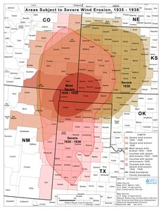 This map shows the extent of the Dust Bowl over six states, and how severely they were affected by it.