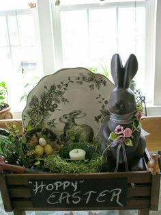 Chocolate bunny and plate display