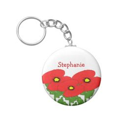 Poppies Just Add Name Key Chain