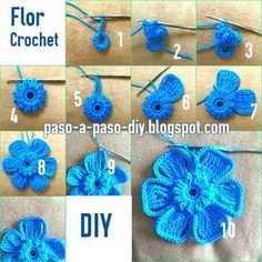 How to knit 6 petals to crochet / DIY Crochet Diy, Crochet I Cord, Diy Crochet Flowers, Crochet Flower Tutorial, Crochet Butterfly, Crochet Leaves, Crochet Motifs, Crochet Flower Patterns, Flower Applique