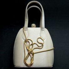 Vintage handbag purse luxury top handle chain shoulder strap huge rhinestone ball