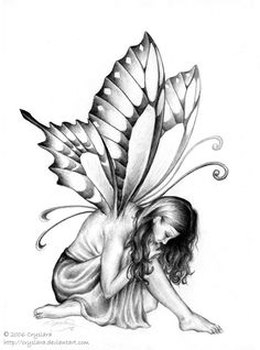 Hannah Faerie by ~cryslara on deviantART Fairy Wings Drawing, Fairy Drawings, Sad Drawings, Angel Drawing, Art Drawings Sketches, Pixie Tattoo, Faerie Tattoo, Fairy Tattoo Designs, Fairy Coloring Pages