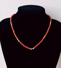 Vintage 60's Facetted Natural RED CORAL and PEARL Beaded Necklace with Gold Filled Spacer beads.