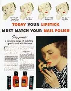 dtxmcclain:  Cutex lip stick and nail polish, 1935