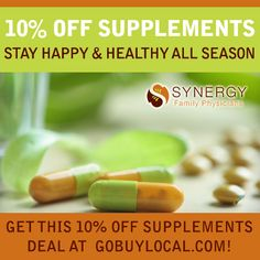 Stay healthy with 10% off supplements from Synergy Family Physicians! http://www.gobuylocal.com/offerseo/White_Bear_Lake-MN/Synergy_Family_Physicians/2318/424/