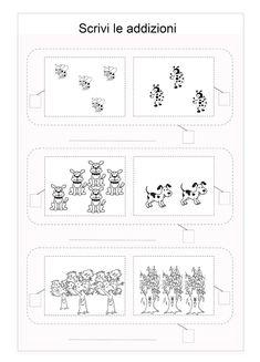 Scuola di pensiero: Schede didattiche: addizioni per la prima elementare Math Lab, Notebook, Bullet Journal, 3, Math Problems, Craft, Dyscalculia, Autism, Classroom