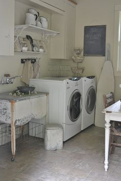 With a Laundry Room like this, I would want to do laundry ALL the time!!! Faded Charm: ~Laundry Room Reveal~