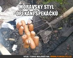 Moravský styl opékání špekáčků Haha, Humor, Jokes, Random Stuff, Funny Stuff, Carpe Diem, Random Things, Funny Things, Husky Jokes