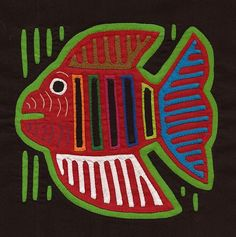 Very Colorful Fish Mola  Kuna Indian Reverse Applique by molamama, $17.50