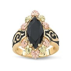 Enjoy the signature beauty of 10K gold Black Hills Gold® in an antiqued onyx ring.
