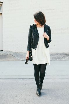 Topshop jacket, Madewell dress and boots