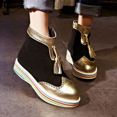 79.87$  Watch here - http://alittm.worldwells.pw/go.php?t=32509611406 - Women Spring Autumn Genuine Leather Height Increase Elevator Match Colored Side Zipper Ankle Boots Plus Size 33-43 SXQ0905