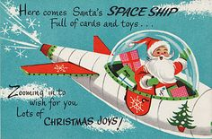 vintage card goodness! Make your own Space Ship.