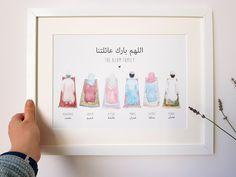 Hamsa Art, Nursery Frames, Islamic Wall Decor, Muslim Family, Prayer For Family, Baby Milestone Cards, Family Painting, Islamic Wallpaper, Islamic Gifts