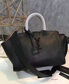 be6e9adff8 Saint Laurent Baby Monogram Downtown Cabas Bag in Black Calfskin with  Black-toned Hardware.
