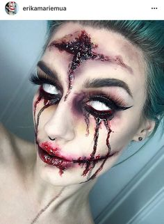 Halloween makeup is so much fun. You have so much room for creating unique sexy and/or scary Halloween looks. From horror makeup to cute and fun looks, there are hundreds of fun makeup designs for Halloween.For those of us who love to experiment with make Halloween Zombie, Image Halloween, Looks Halloween, Halloween Inspo, Halloween Cosplay, Halloween Face Makeup, Halloween Party, Halloween Halloween, Halloween Contacts