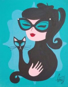 lady with cats art Retro Kunst, Retro Art, Mid Century Art, Mid Century Modern Art, Brainstorm, Pin Up, Black Cat Art, Black Cats, Gatos Cats