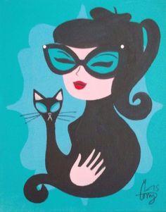 EL GATO GOMEZ PAINTING RETRO 1950S PINUP GIRL BEATNIK CAT EYE GLASSES KITSCHY in Art, Art from Dealers & Resellers, Paintings   eBay