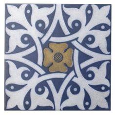 Repro Gothic Quatrefoil Tile in Blue, Gold & White
