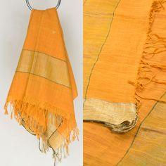 "This ""Sunshade Orange"" colour #Handwoven & Handspun Organic Desi Cotton Dupatta from Taanbaan desi charkha - handloom is woven with tiny narangi (orange) jamdani motifs all over the body and bordered on either side by gold colour zari."
