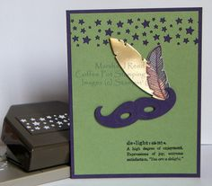 Mardi Gras Mask Stamp Set: Four Feathers, Define Your Life . Paper Punch, Punch Art, Mustache Cards, Feather Cards, Glue Dots, Neutral, Pretty Cards, Stampin Up Cards, Mardi Gras