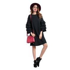 51a4f3ae7b10d Black Mini Dress Layered Ruffled Sleeves