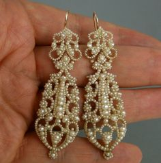 ANTIQUE EARLY VICTORIAN GENUINE SEED PEARL & GOLD LONG PENDANT DROP EARRINGS