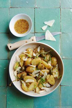 Salade de pommes de terre, vinaigrette à la bière - Une salade très gourmande à la moutarde, bière et parmesan...