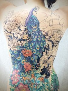 Amazing Peacock Tattoo for Girls on Back