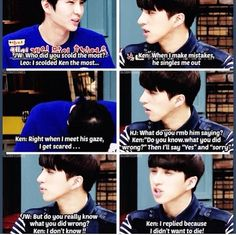 """This made me love Leo more...#isthatweird"" lol Ken and Leo, VIXX"