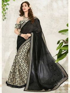 Religious black Digital Printted Party Wear Saree