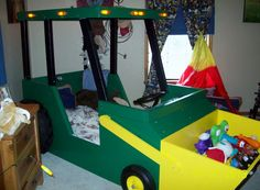 DIY tractor bed. the the bucket on the front for toys!