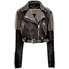 Pre-owned Burberry Brit Biker Motocycle Leather Studded Spiked Black... (€1.855) ❤ liked on Polyvore