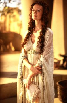Saffron Burrows as Andromache in Troy. Her costumes are my favorite from the movie, but nobody seems to pin them ! Totally overshadowed by Diane Kruger !