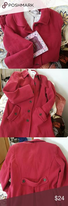 Coat Beautiful cranberry winter coat. Lined. Mint condition. I'm 5'9 and it hits a bit above the knee. Cuffed pockets and cool strap with a button on the back. (Shirt and book used for display only and not included, but you can provide you own!) Lands' End Jackets & Coats Trench Coats