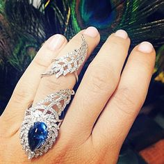 Marion Fasel @theadventurine regal in Cynthia Bach peacock feather ring @cynthiabach #sapphire #feather #peacock #marionfasel #ring #neimanmarcus #diamonds