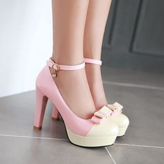 27.69$  Buy here - http://alipvg.shopchina.info/1/go.php?t=32581376178 - 2017new spring autumn sweet Women word buckle straps bow high heels 34 43 big small size shoes lady color princess heels shoes  #aliexpresschina