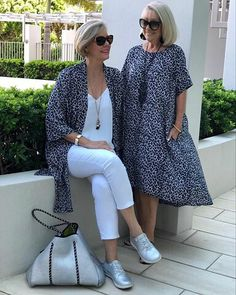 'Breezy fabrics, relaxed cuts & fun accessories' Sabrina dress worn as a top! Mature Women Fashion, Over 50 Womens Fashion, Fashion Over 50, Plus Fashion, Mode Outfits, New Outfits, Summer Outfits, Sabrina Dress, 50 Style